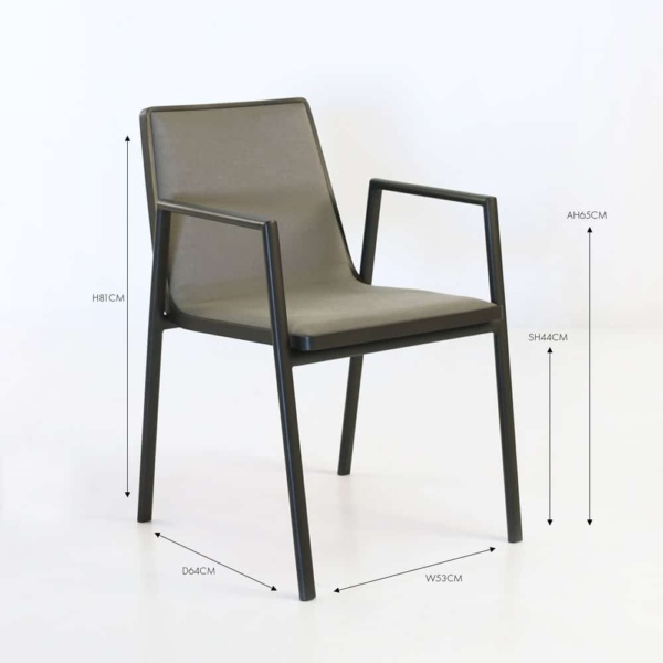 Panama aluminum dining arm chair