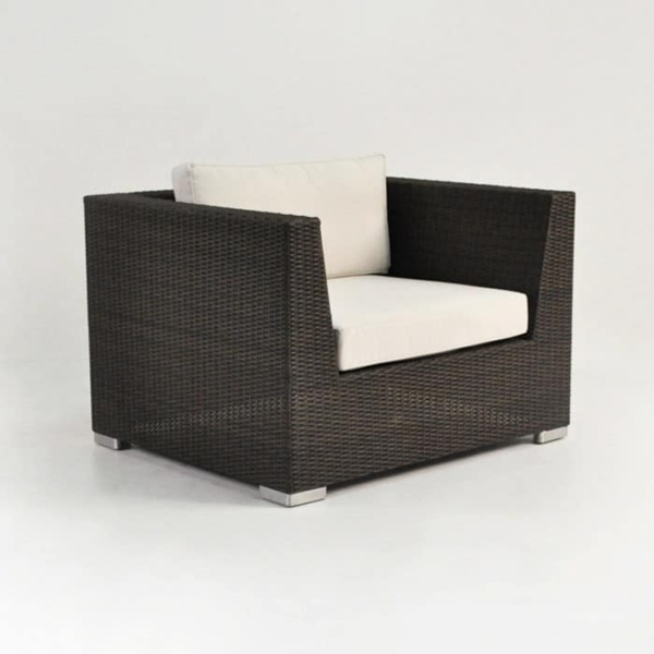 Outdoor Wicker Club Chair Java angled view