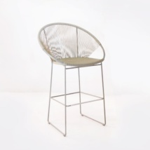 Wicker Bar Chair Taupe front angle