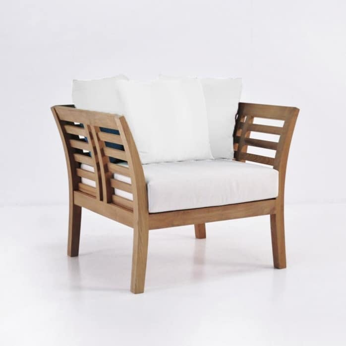 teak club chair with sunbrella cushions