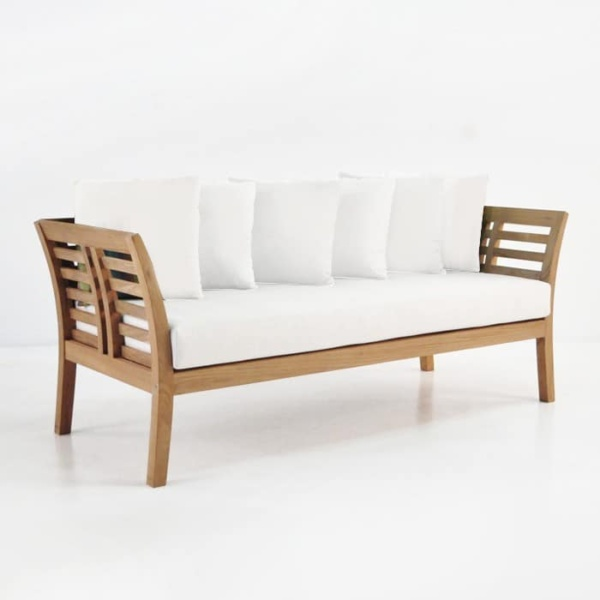 teak sofa with sunbrella cushions