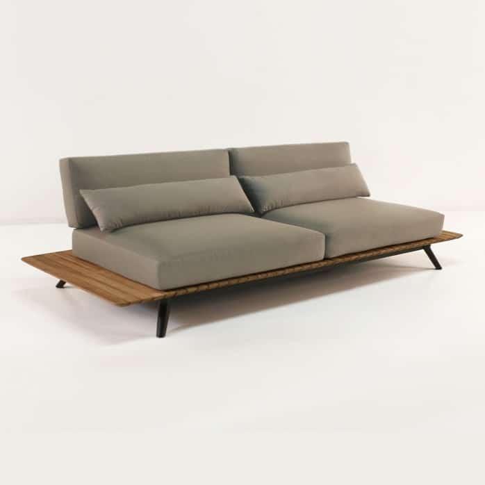 platform reclaimed teak sofa with cushions