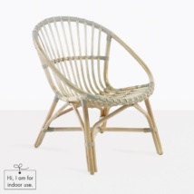 indoor rattan lounge chair front angle