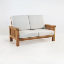raffles teak loveseat with sunbrella cushions