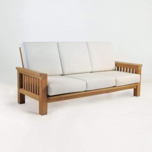 raffles teak sofa with sunbrella cushions
