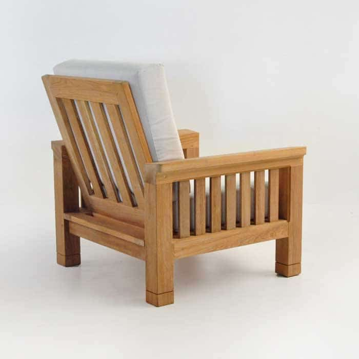 raffles teak club chair back angle view