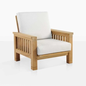 Raffles teak outdoor club chair angle