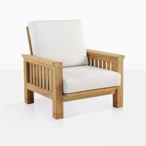 Raffles teak outdoor club chair angle