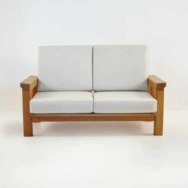 raffles teak loveseat with cushions