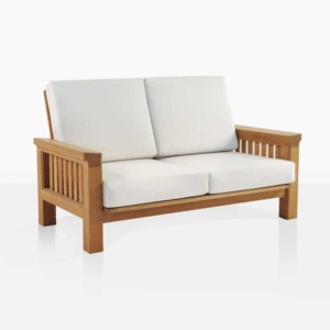 Raffles teak outdoor loveseat angle