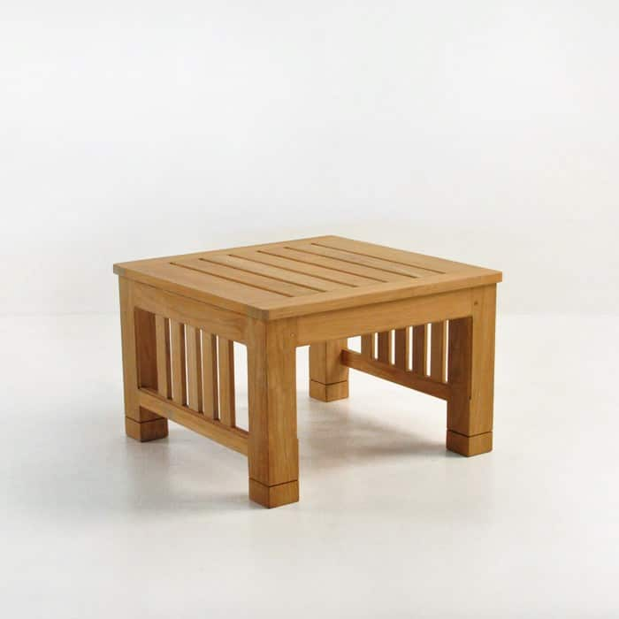 raffles teak end table front angle view