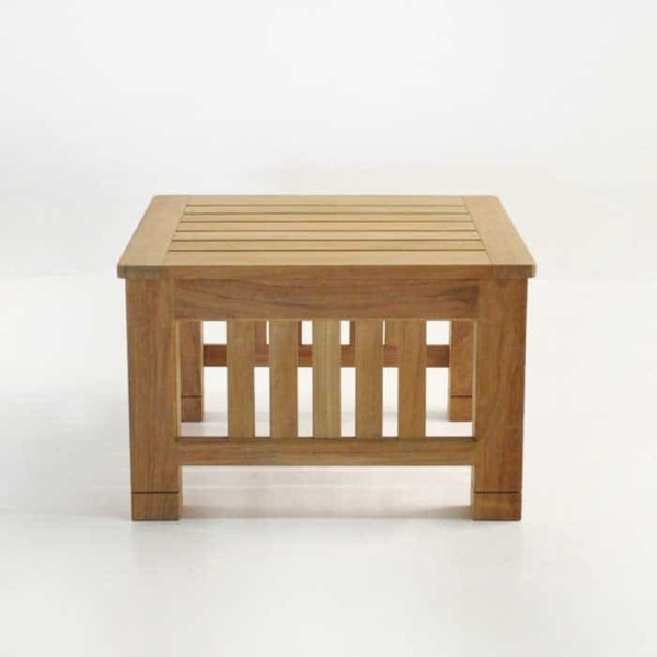 raffles teak end table side view with slats