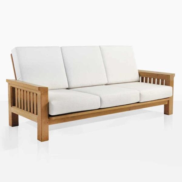 Raffles teak outdoor sofa angle