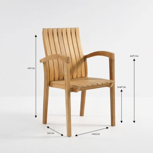 raffles teak stacking dining arm chair