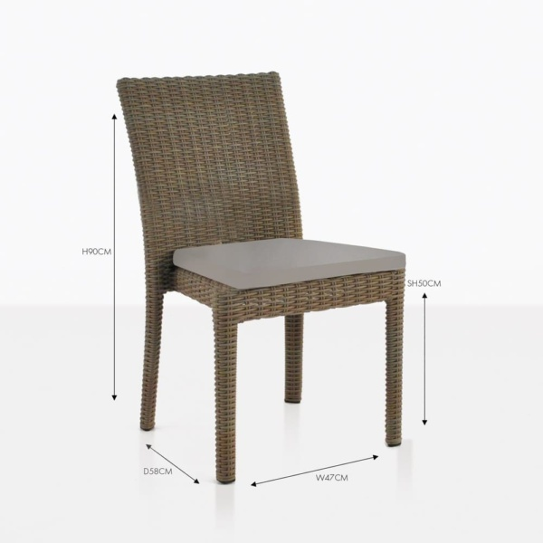 roamnsa taupe wicker dining chair