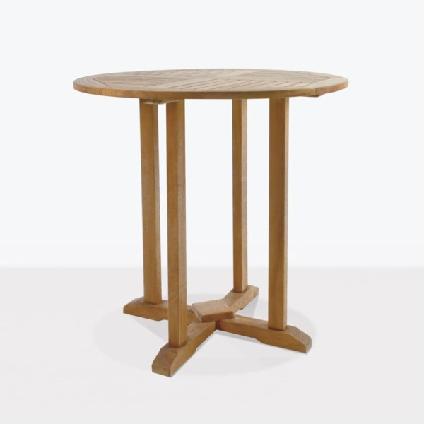 round outdoor teak bar table