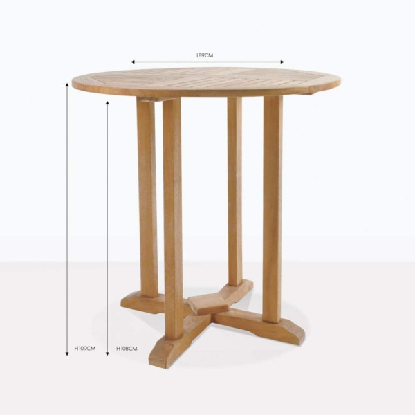 round teak pedestal bar table