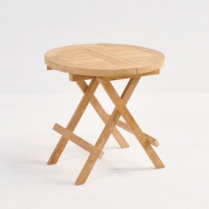 Teak Picnic Table (Round) front angle view