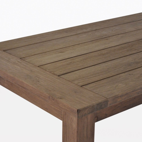 rustic 4 leg close up reclaimed teak outdoor dining table