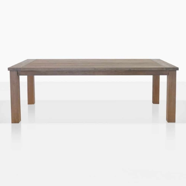 rustic 4 leg straight reclaimed teak outdoor dining table
