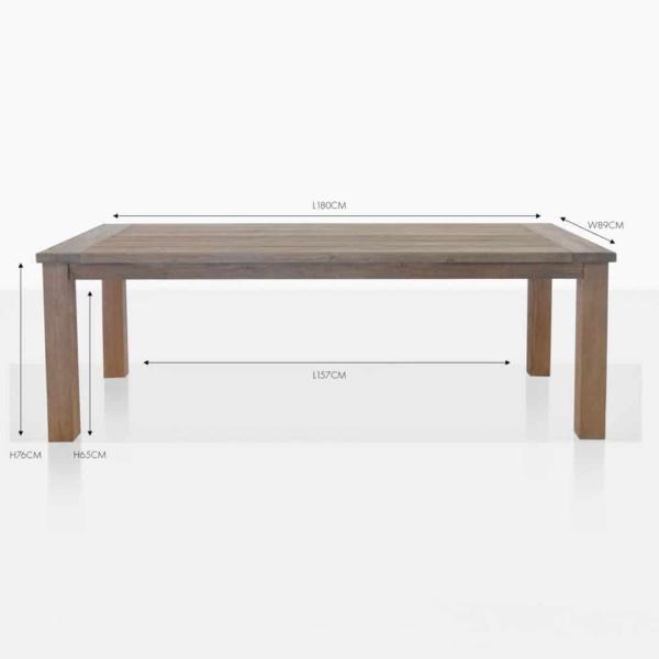rustic teak 4 leg rectangular table