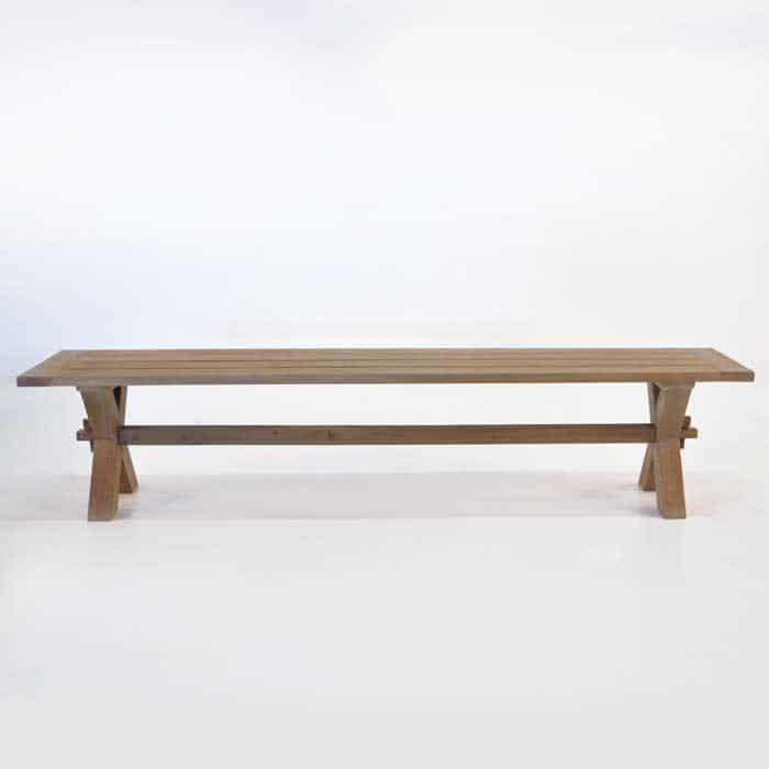 Rustic X-Leg Reclaimed Outdoor Teak Benches-1671