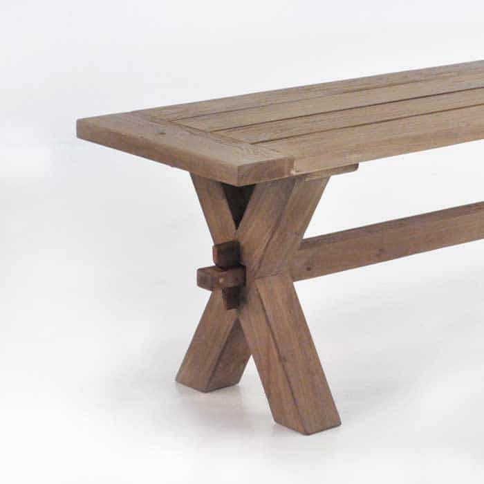 Rustic X-Leg Reclaimed Outdoor Teak Benches-1670