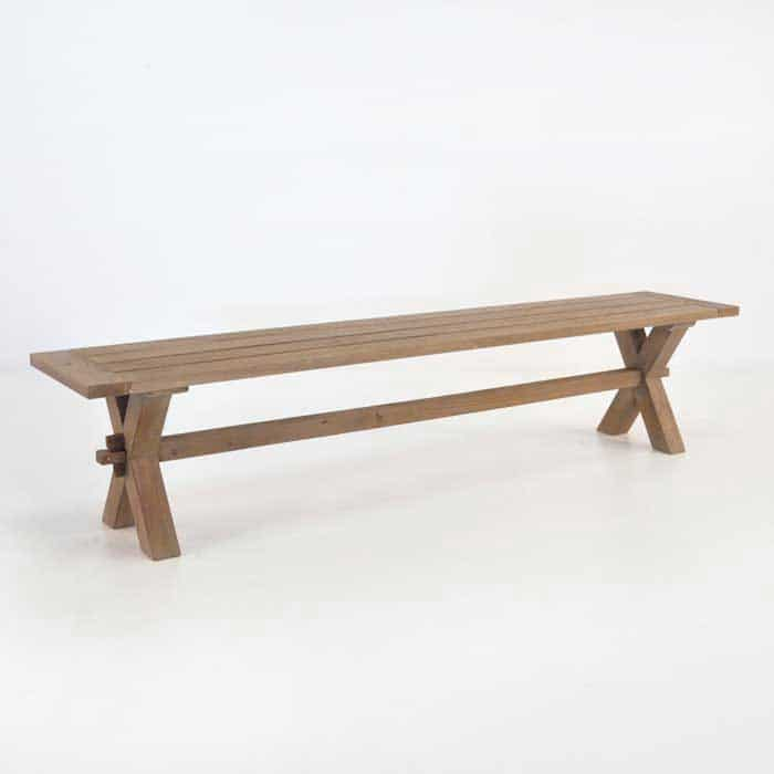 Rustic X-Leg Reclaimed Outdoor Teak Benches-0