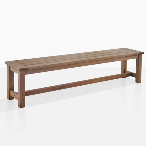 rustic four leg outdoor bench angle