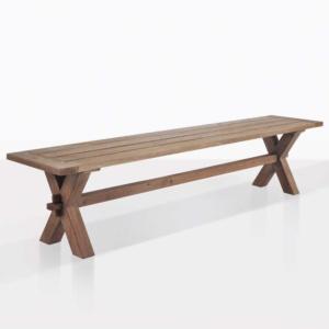 rustic x-leg angle bench reclaimed teak bench