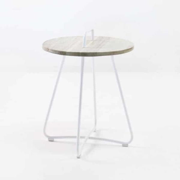 Samba Side Table Drift (White) front angle view