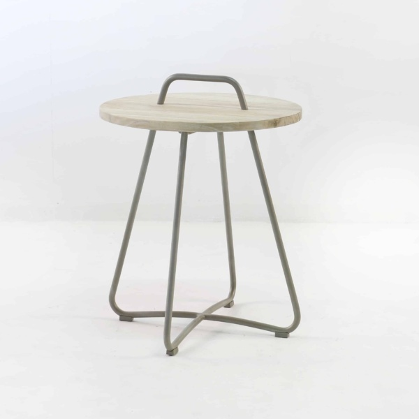 Samba Side Table Drift (Taupe) front angle view