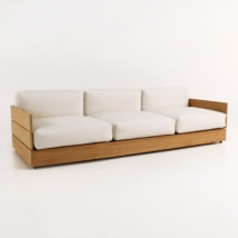 soho grande teak sofa with sunbrella cushions