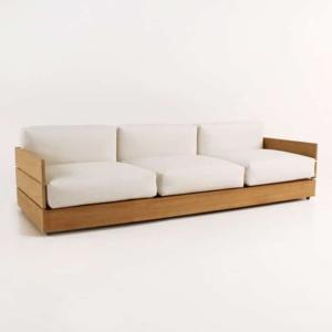 soho grande teak sofa with sunbrella cushions