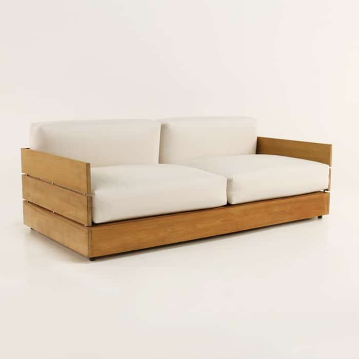 soho grande teak loveseat with sunbrella cushions