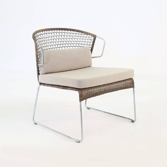 Sophia Wicker Relaxing Chair and Ottoman Sampulut angled view
