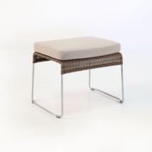 Sophia Outdoor Wicker Ottoman angle view