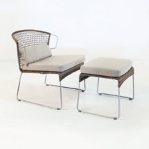 Sophia Wicker Relaxing Chair and Ottoman Sampulut side view