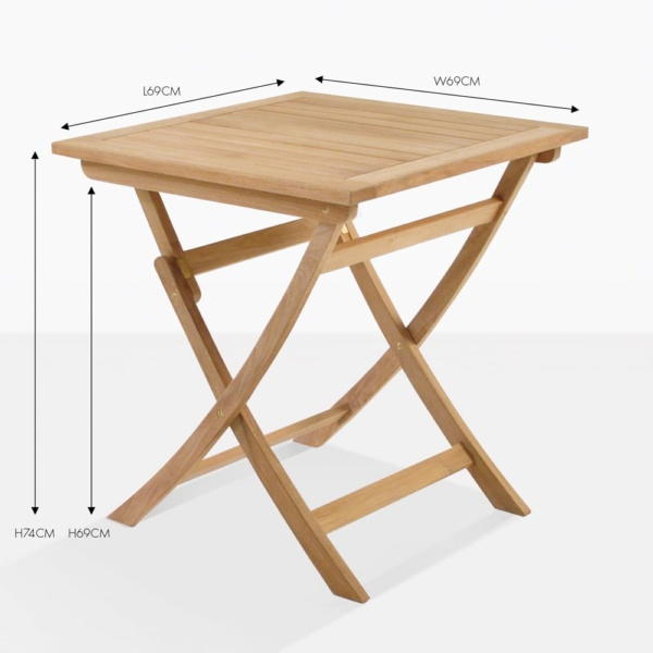 square teak folding table