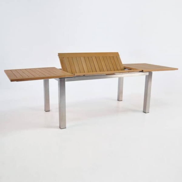 Stainless Steel and Teak Extension Outdoor Dining Table 165cm -1427