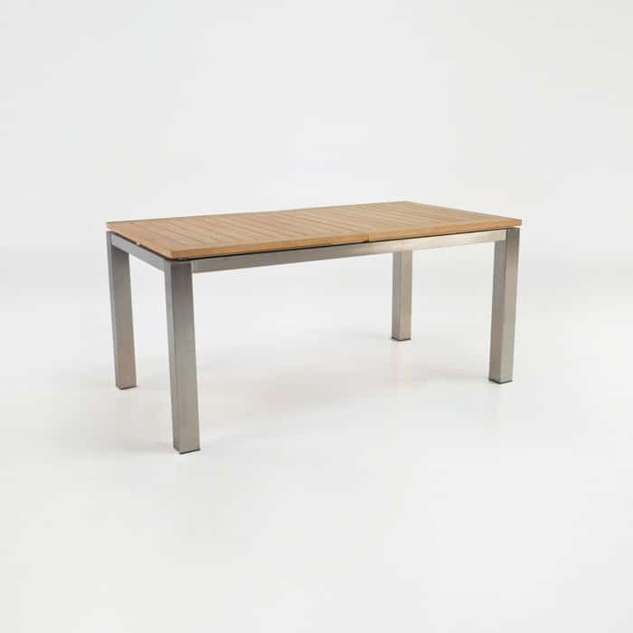 Stainless steel and teak extension table 165cm for Ss dining table images