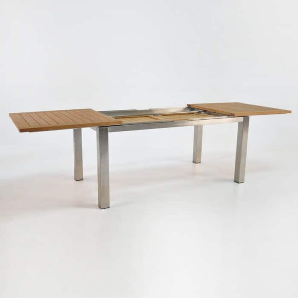 Stainless Steel and Teak Extension Outdoor Dining Table 165cm -1429