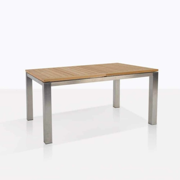 stainless steel and teak outdoor dining table