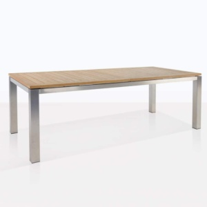 Stainless Steel and Teak Extension outdoor dining table angle