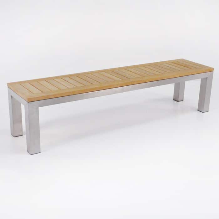Stainless Steel And Teak Backless Outdoor Bench 0