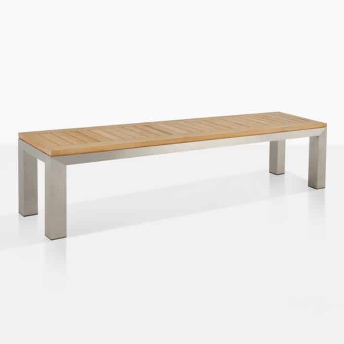stainless steel backless teak outdoor bench