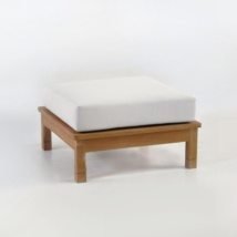 st tropez teak ottoman with sunbrella cushion