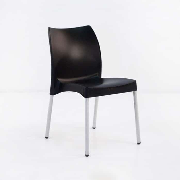 Stax Cafe Dining Chair (Black)-0 & Stax Cafe Outdoor Stacking Dining Chair in Black | Design Warehouse NZ