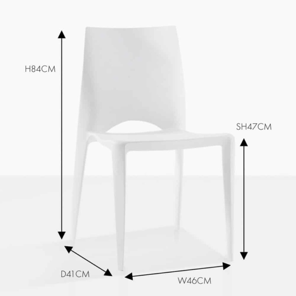 Stiletto white side outdoor dining chair