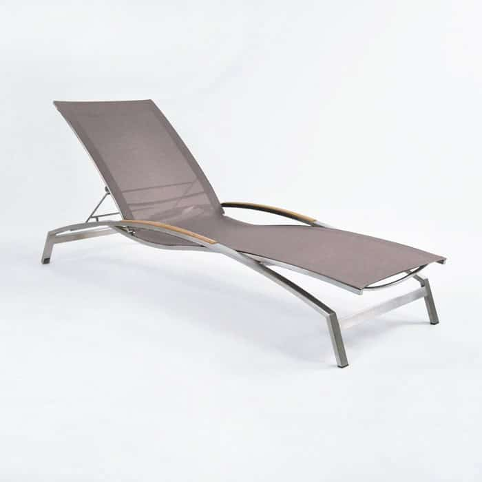 Summer Stainless Steel and Batyline Sun Lounger (Taupe)-0